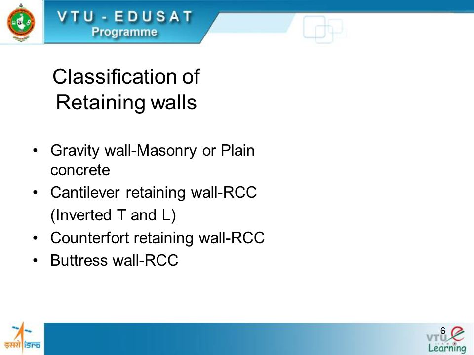 Classification of Retaining walls