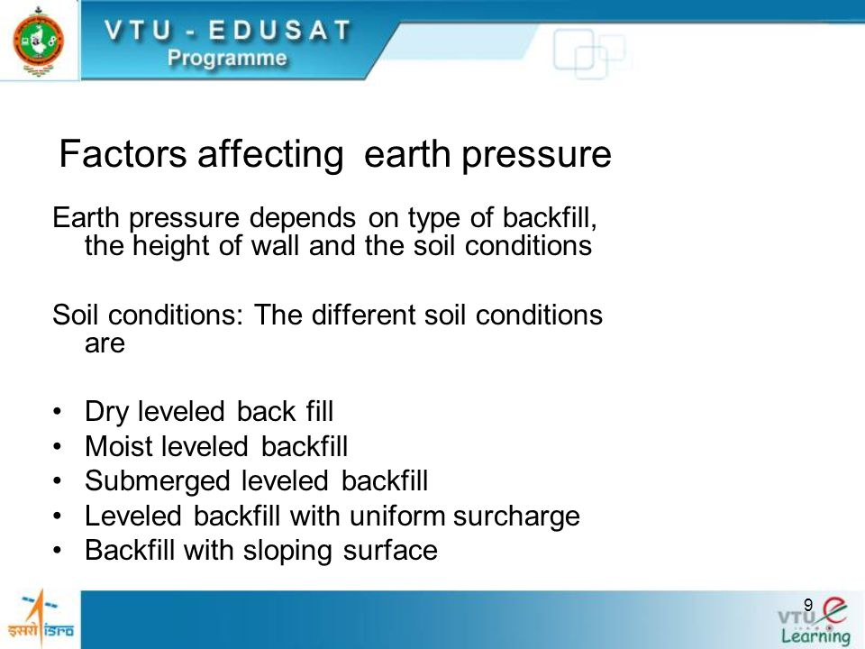 Factors affecting earth pressure