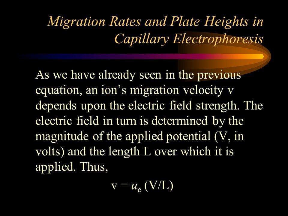 Migration Rates and Plate Heights in Capillary Electrophoresis