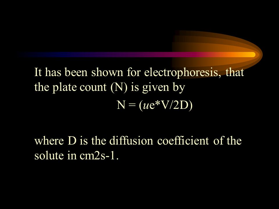 It has been shown for electrophoresis, that the plate count (N) is given by