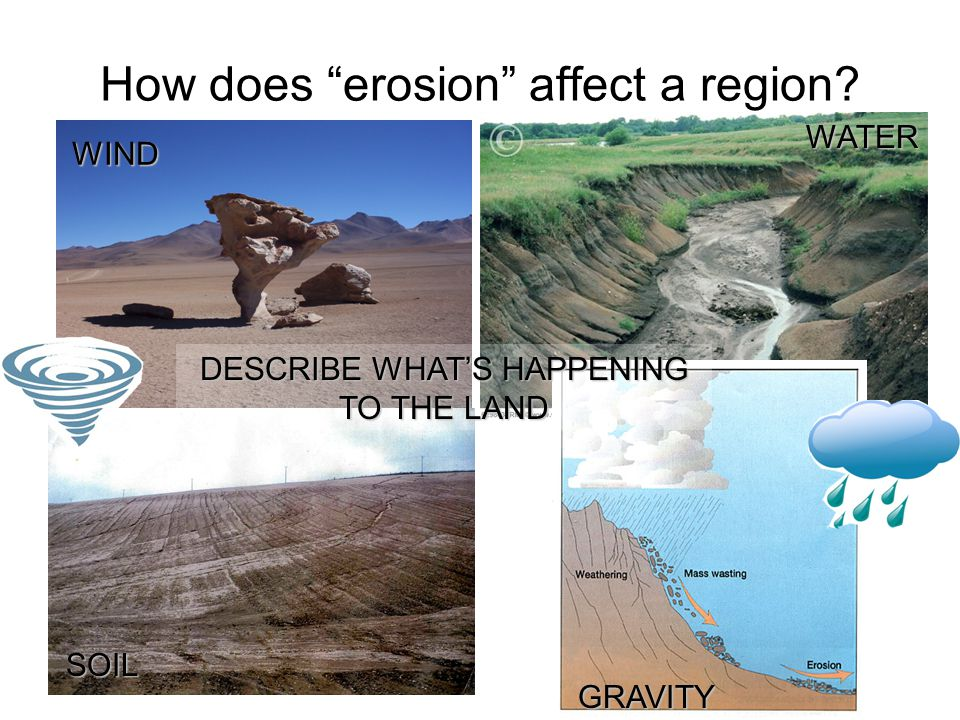 How does erosion affect a region