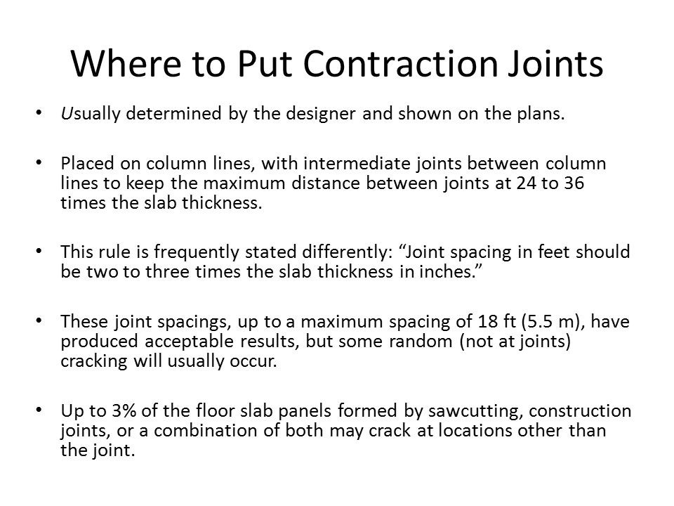 Where to Put Contraction Joints