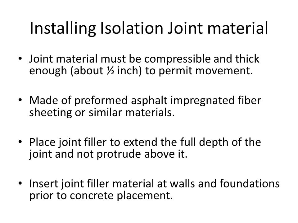 Installing Isolation Joint material