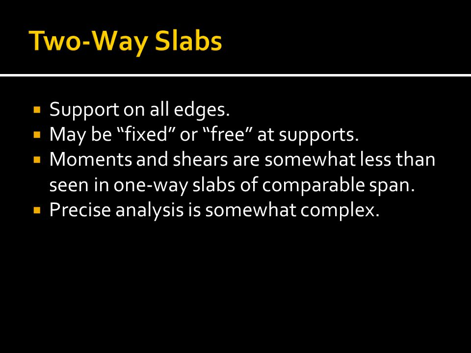 Two-Way Slabs Support on all edges.