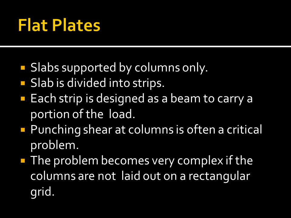 Flat Plates Slabs supported by columns only.