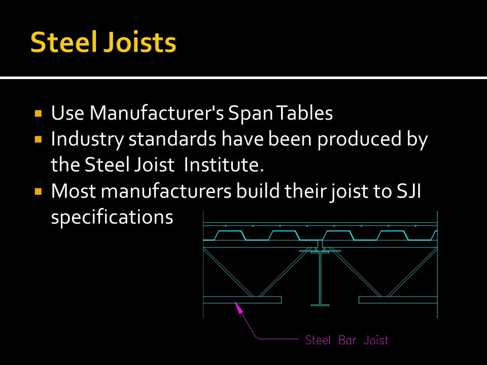 Steel Joists Use Manufacturer s Span Tables