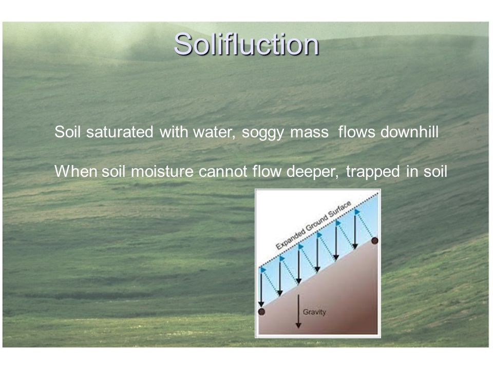 Solifluction Soil saturated with water, soggy mass flows downhill