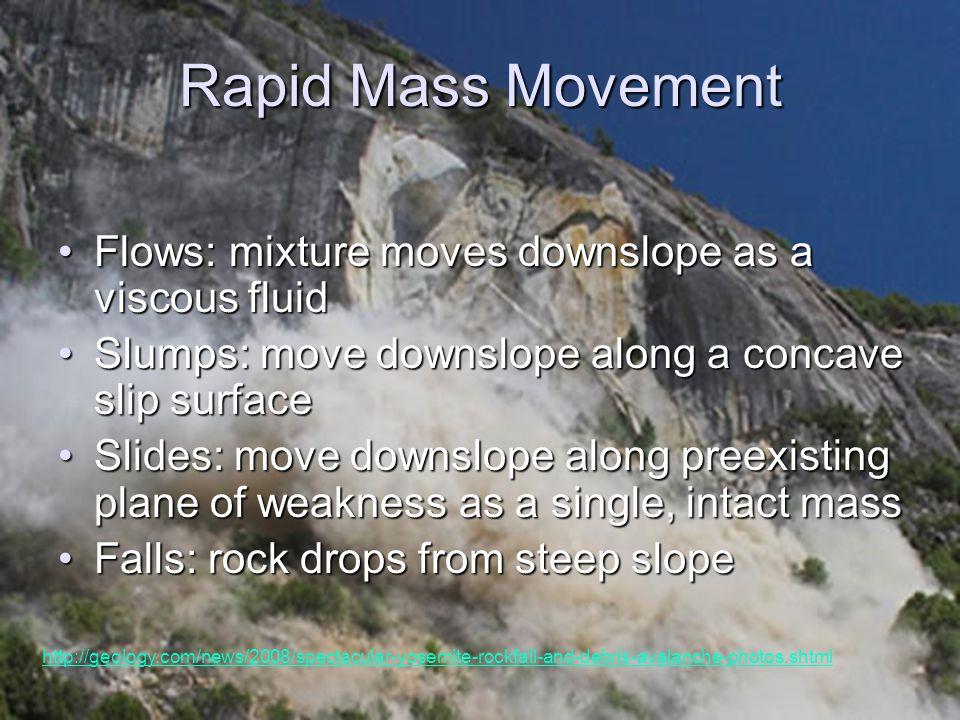 Rapid Mass Movement Flows: mixture moves downslope as a viscous fluid
