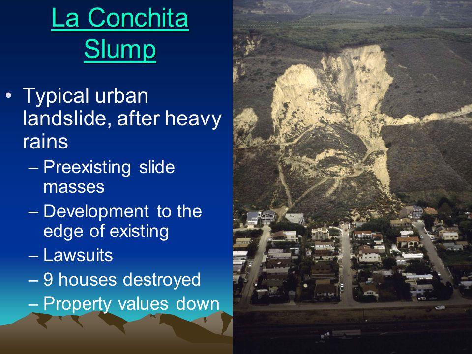 La Conchita Slump Typical urban landslide, after heavy rains