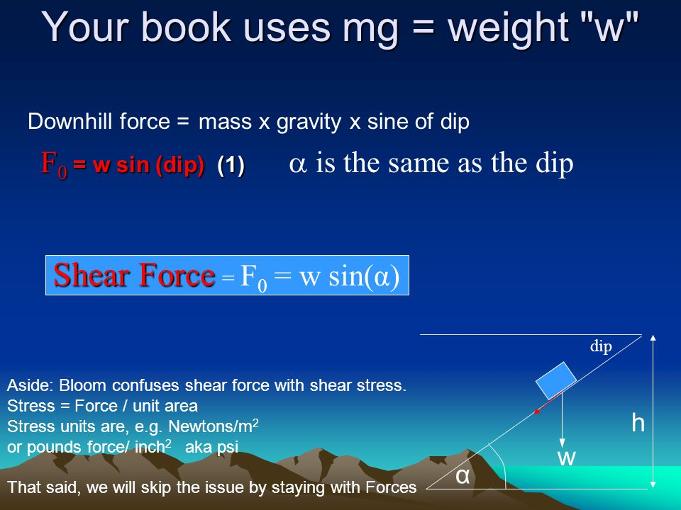 Your book uses mg = weight w