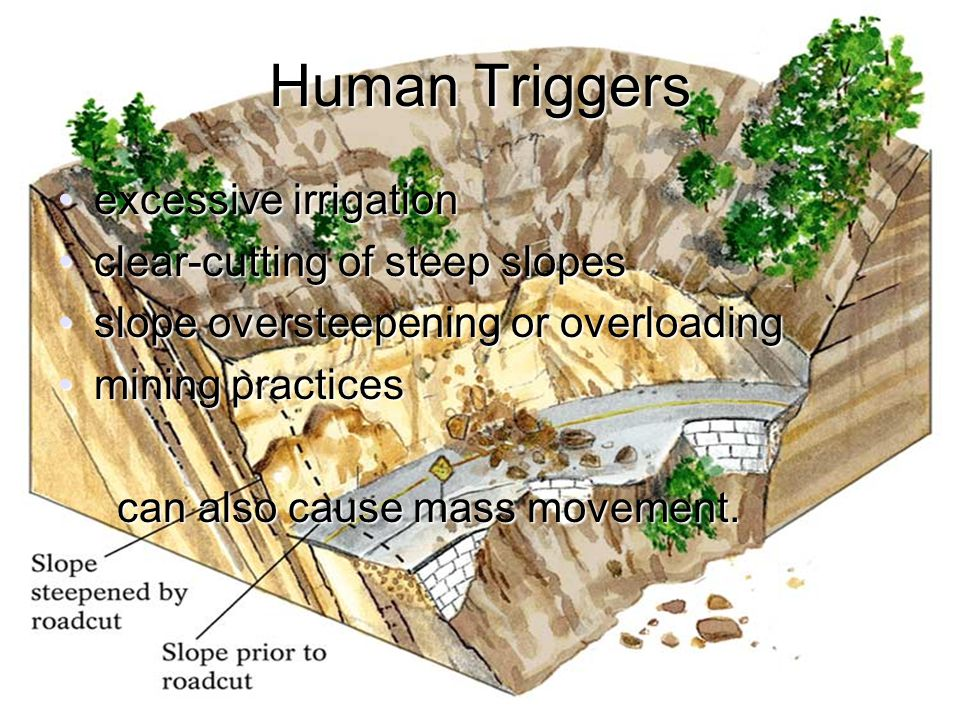 Human Triggers excessive irrigation clear-cutting of steep slopes