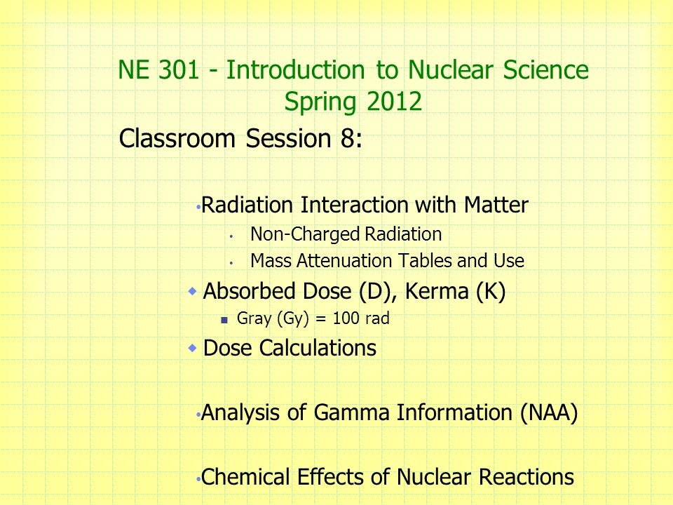 NE Introduction to Nuclear Science Spring 2012