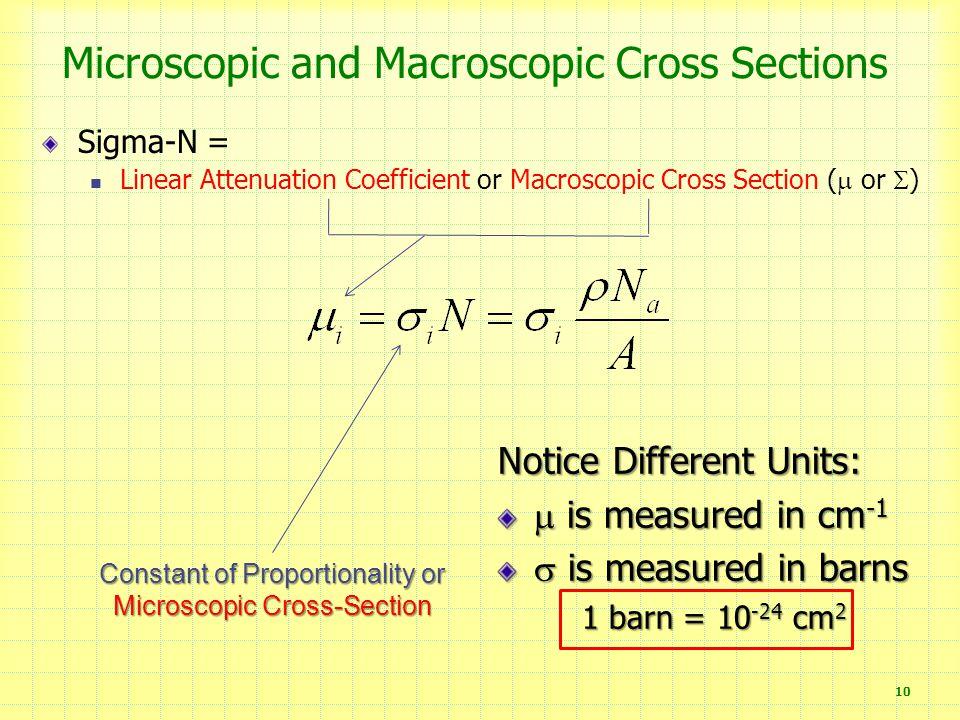 Microscopic and Macroscopic Cross Sections
