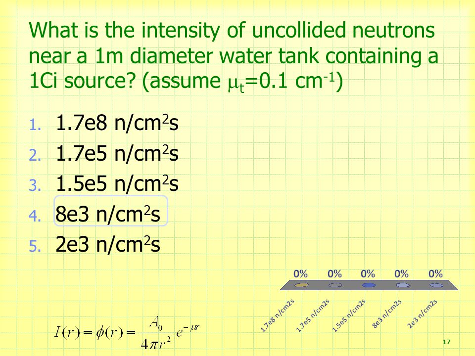 What is the intensity of uncollided neutrons near a 1m diameter water tank containing a 1Ci source (assume t=0.1 cm-1)