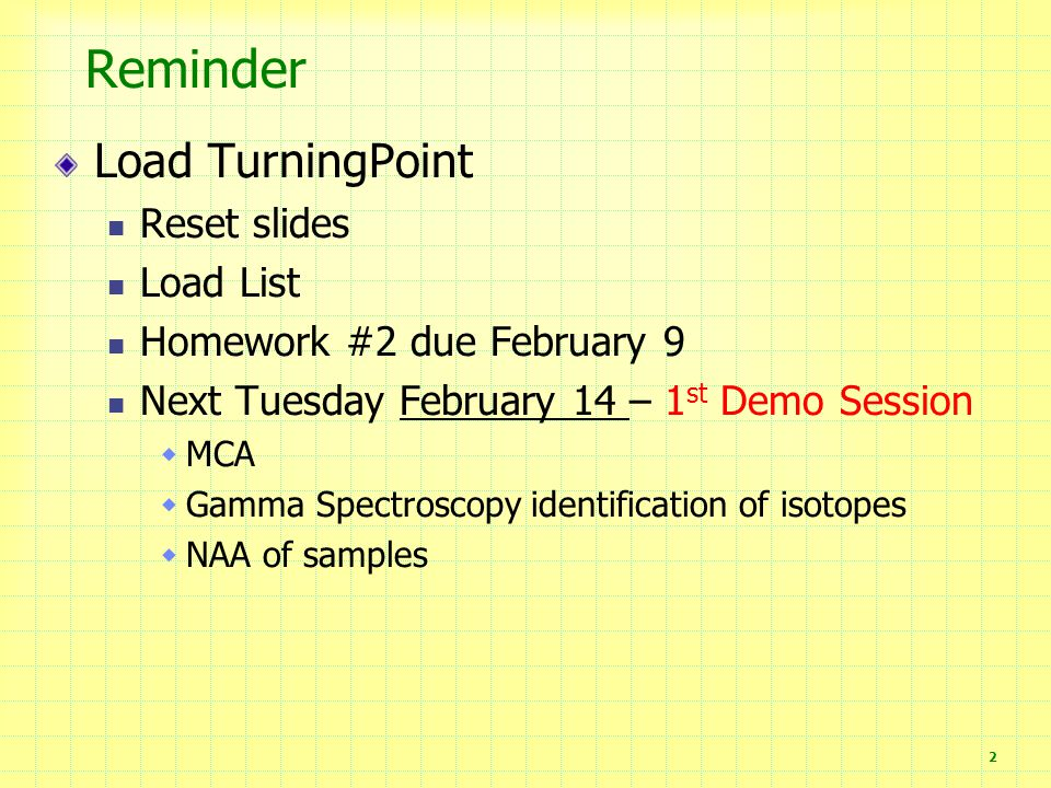 Reminder Load TurningPoint Reset slides Load List