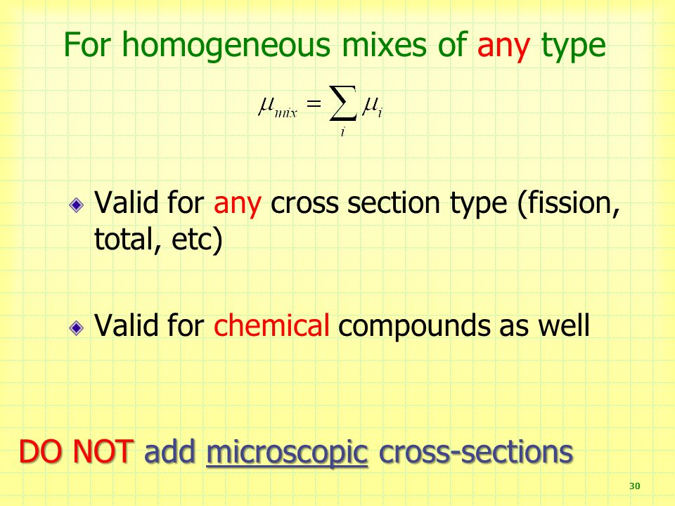 For homogeneous mixes of any type