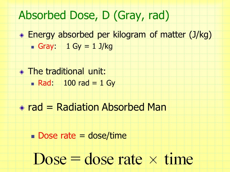 Absorbed Dose, D (Gray, rad)
