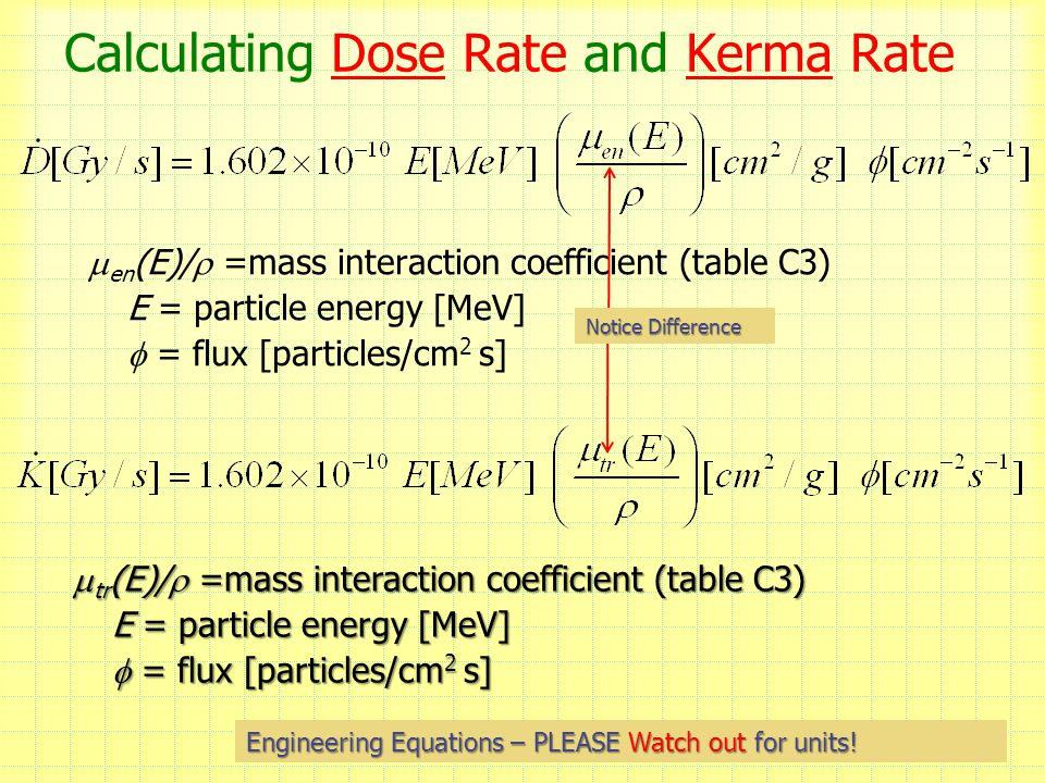 Calculating Dose Rate and Kerma Rate