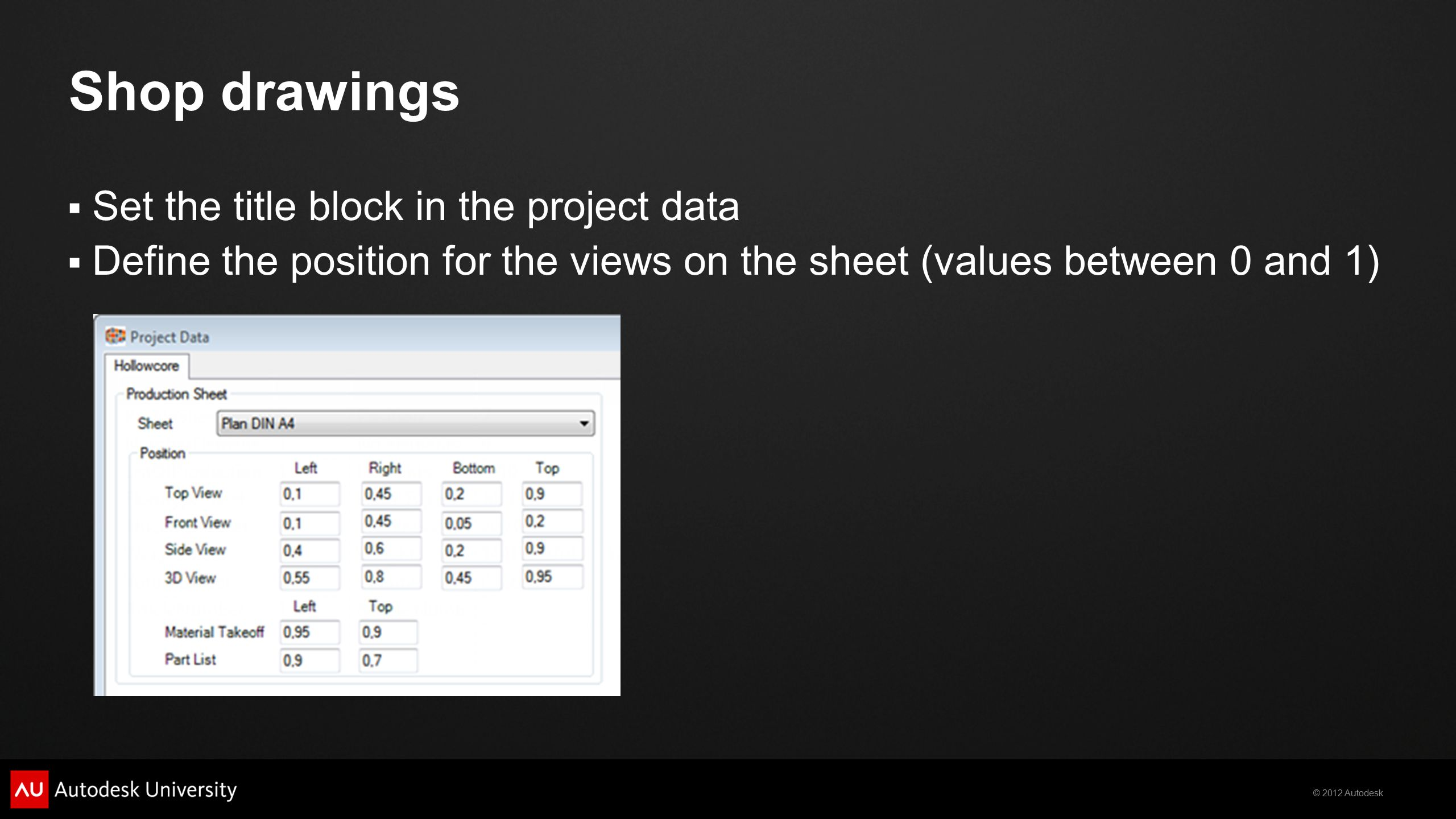 Shop drawings Set the title block in the project data