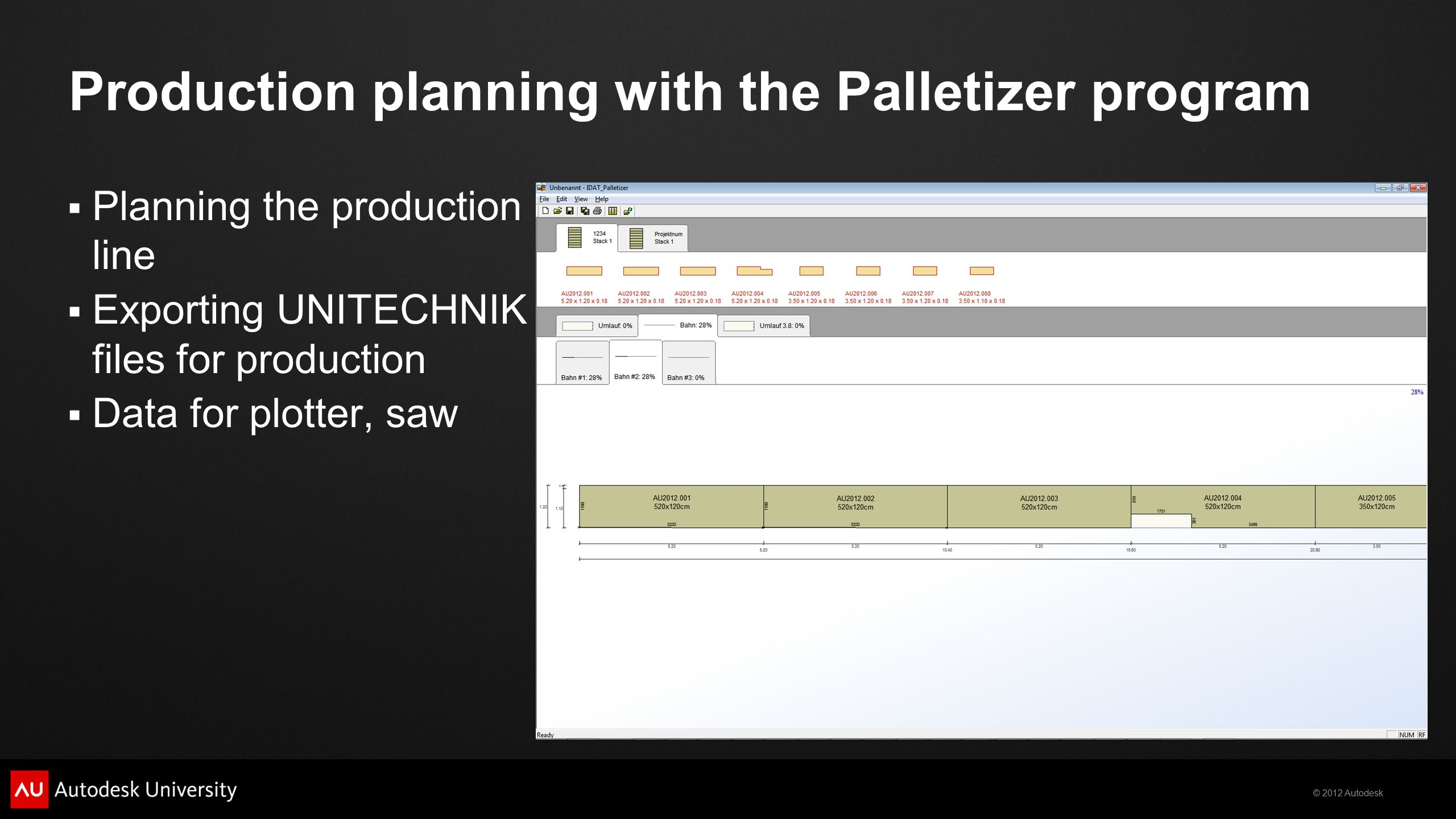 Production planning with the Palletizer program