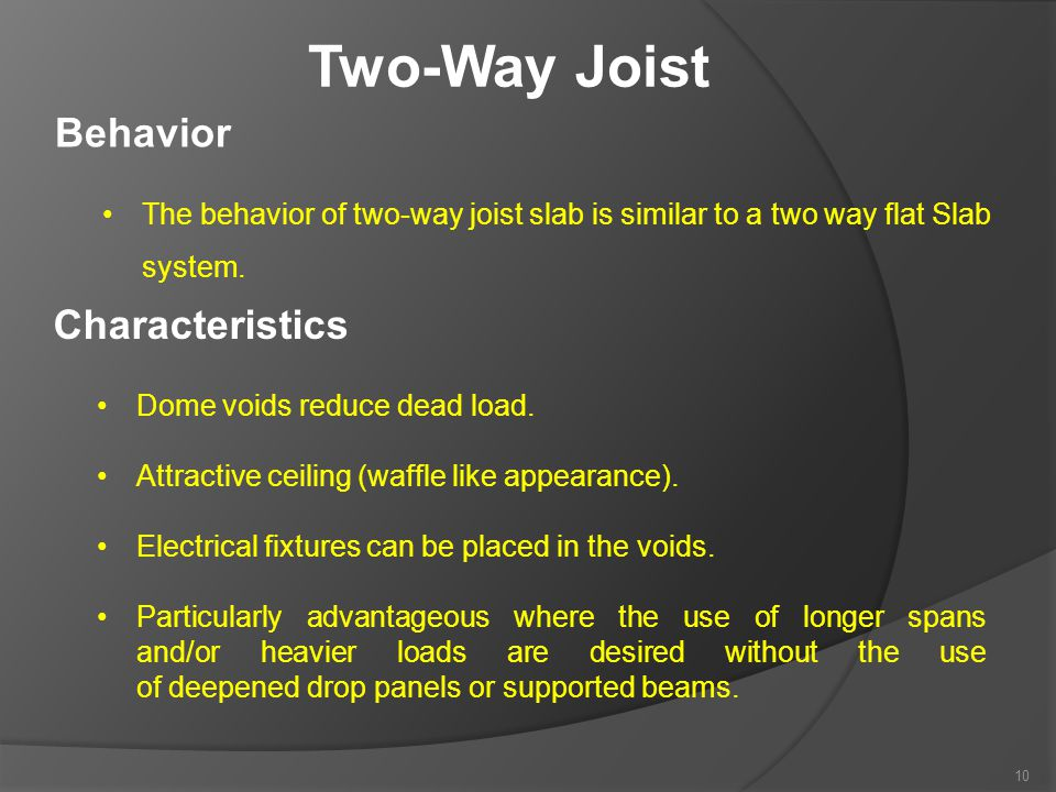 Two-Way Joist Behavior Characteristics