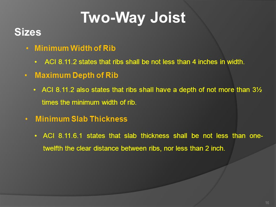 Two-Way Joist Sizes Minimum Width of Rib Maximum Depth of Rib