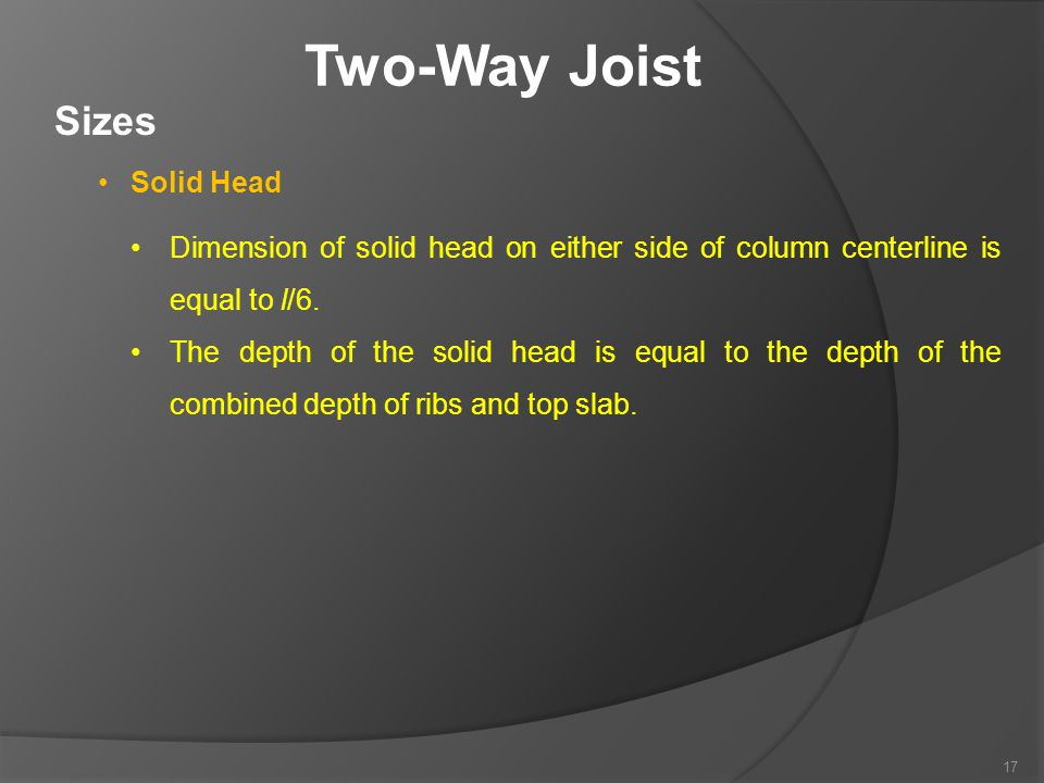 Two-Way Joist Sizes Solid Head