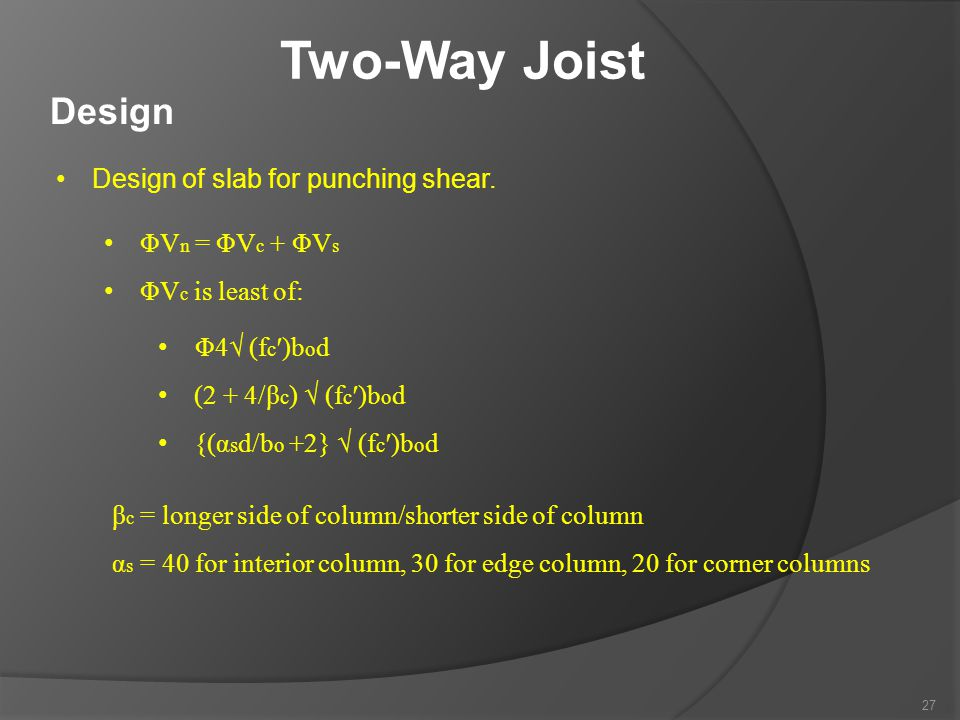 Two-Way Joist Design Design of slab for punching shear.
