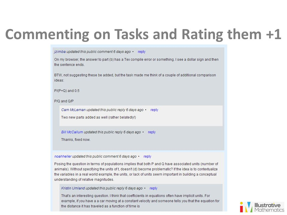 Commenting on Tasks and Rating them +1