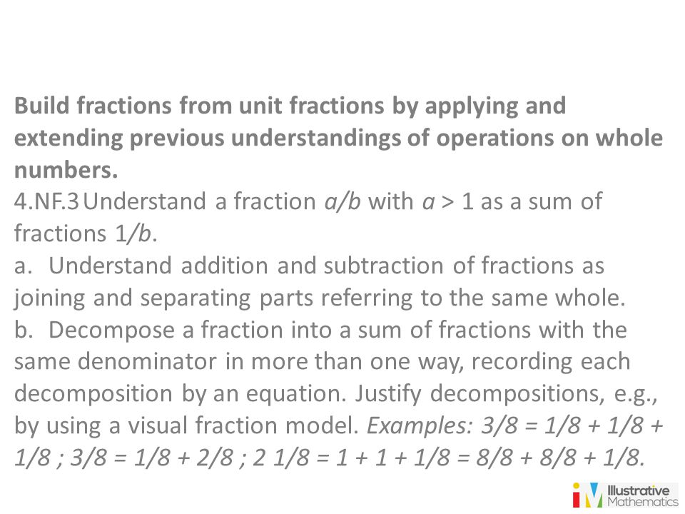 Build fractions from unit fractions by applying and extending previous understandings of operations on whole numbers.