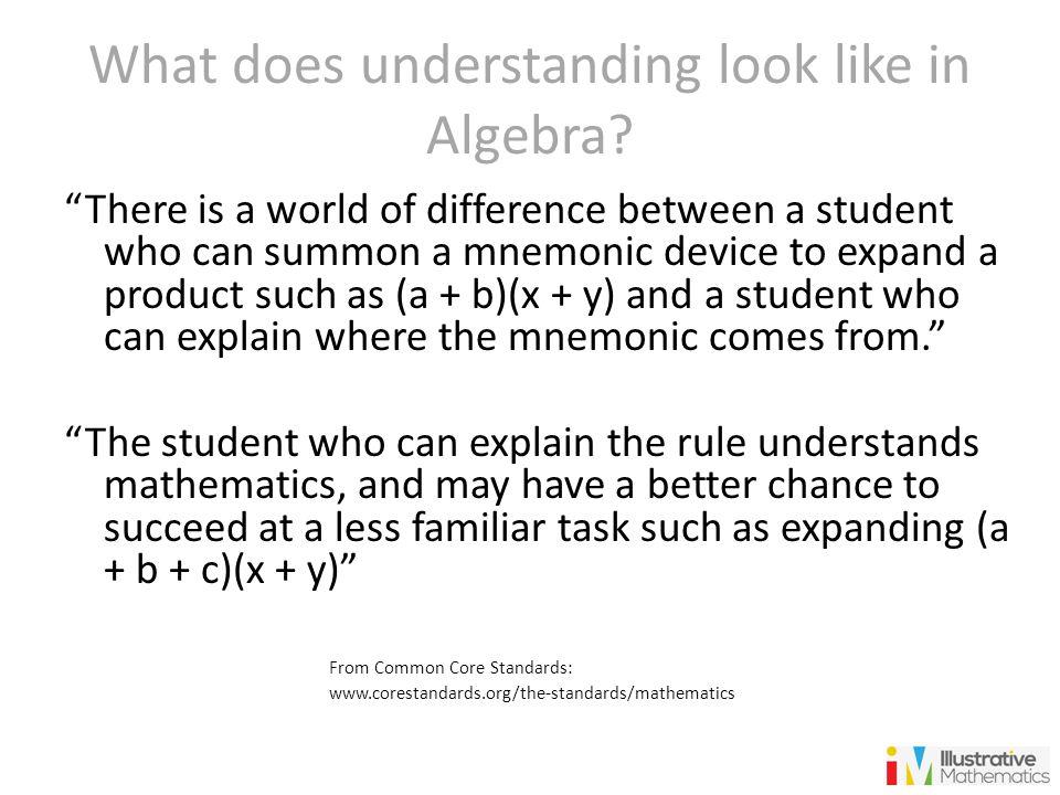 What does understanding look like in Algebra