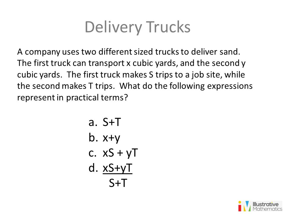 Delivery Trucks S+T x+y xS + yT xS+yT