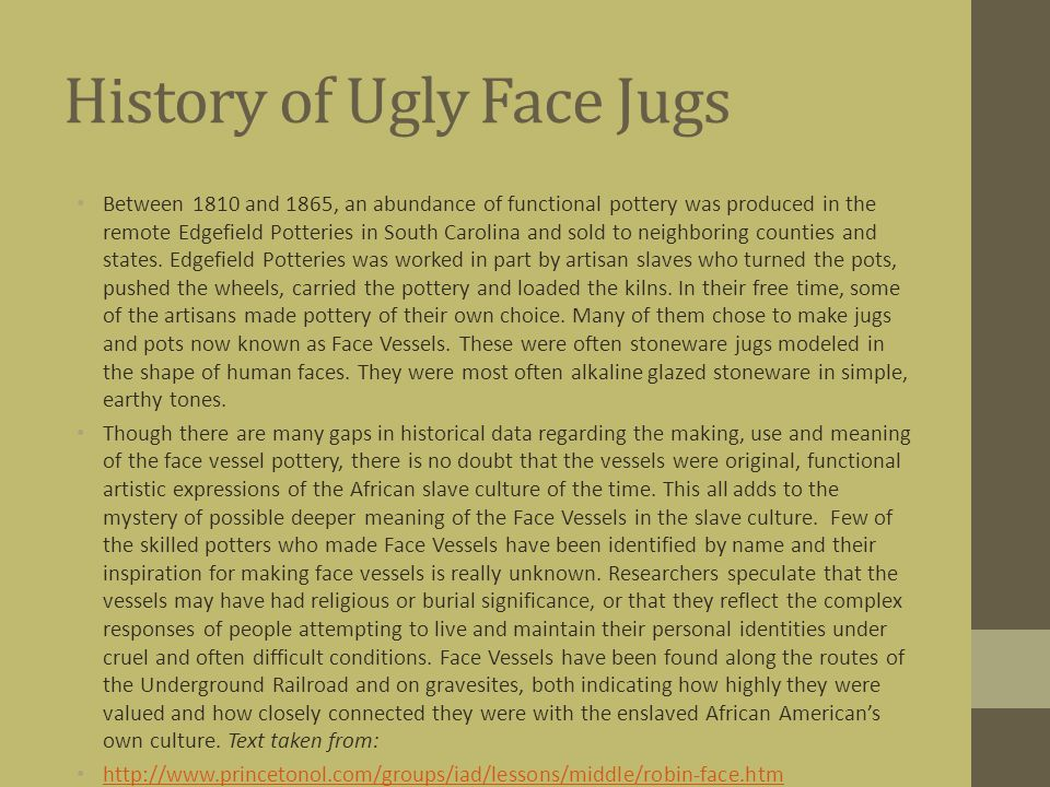 History of Ugly Face Jugs