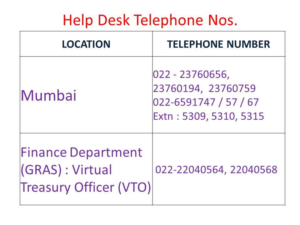 Help Desk Telephone Nos. LOCATION. TELEPHONE NUMBER. Mumbai. 022 - 23760656, 23760194, 23760759.