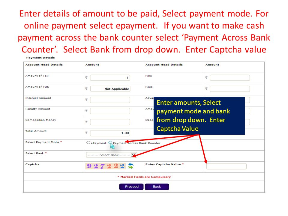 Enter details of amount to be paid, Select payment mode