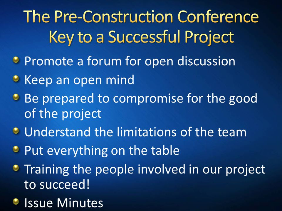 The Pre-Construction Conference Key to a Successful Project