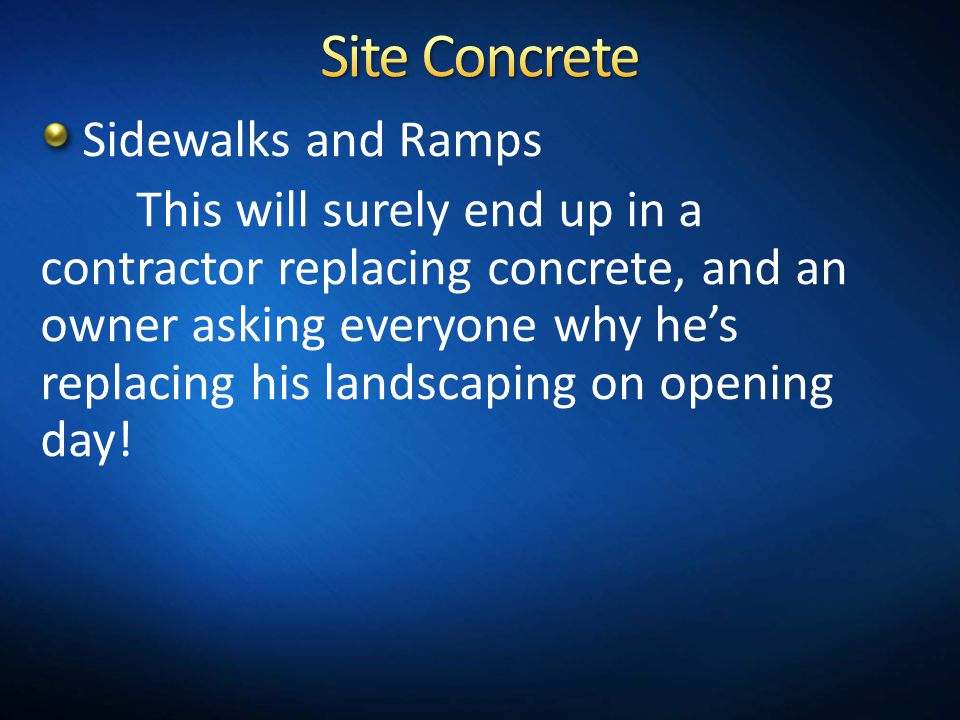 Site Concrete Sidewalks and Ramps