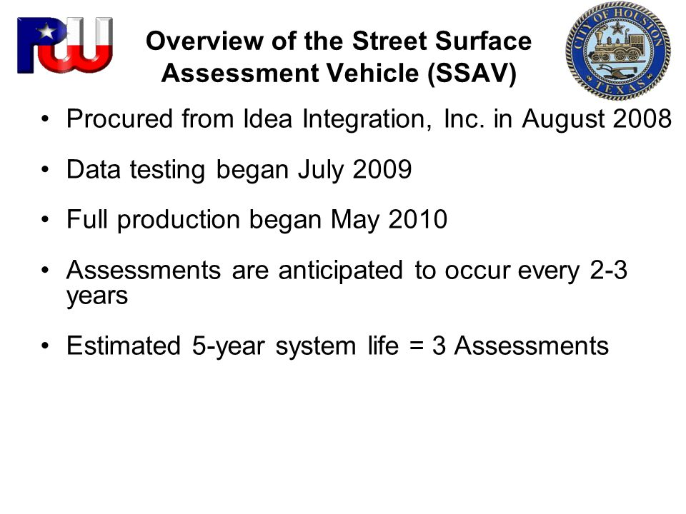 Overview of the Street Surface Assessment Vehicle (SSAV)
