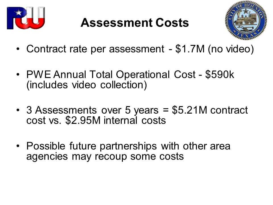 Assessment Costs Contract rate per assessment - $1.7M (no video)