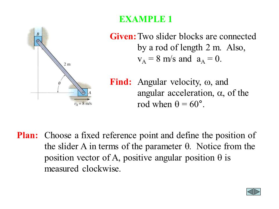 EXAMPLE 1 Given: Two slider blocks are connected by a rod of length 2 m. Also, vA = 8 m/s and aA = 0.