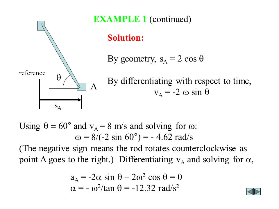 By differentiating with respect to time, vA = -2 w sin q