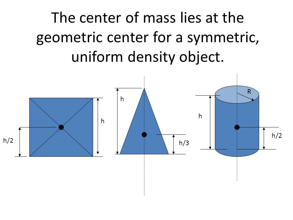 The center of mass lies at the geometric center for a symmetric, uniform density object.