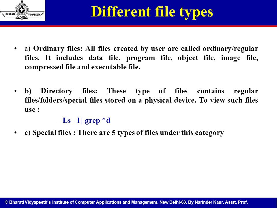 Different file types