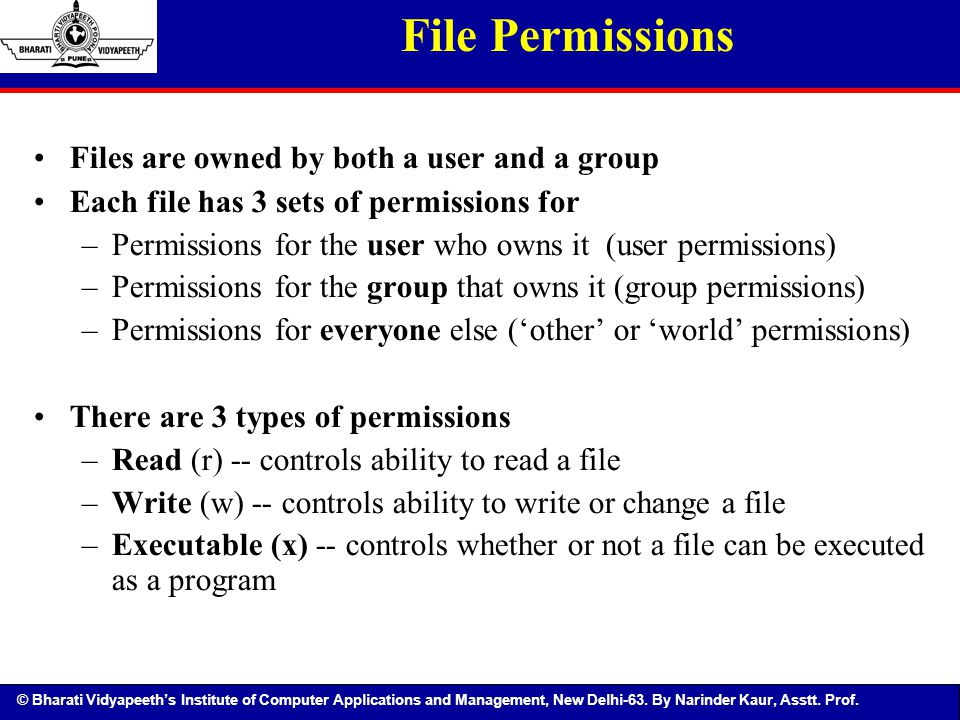 File Permissions Files are owned by both a user and a group