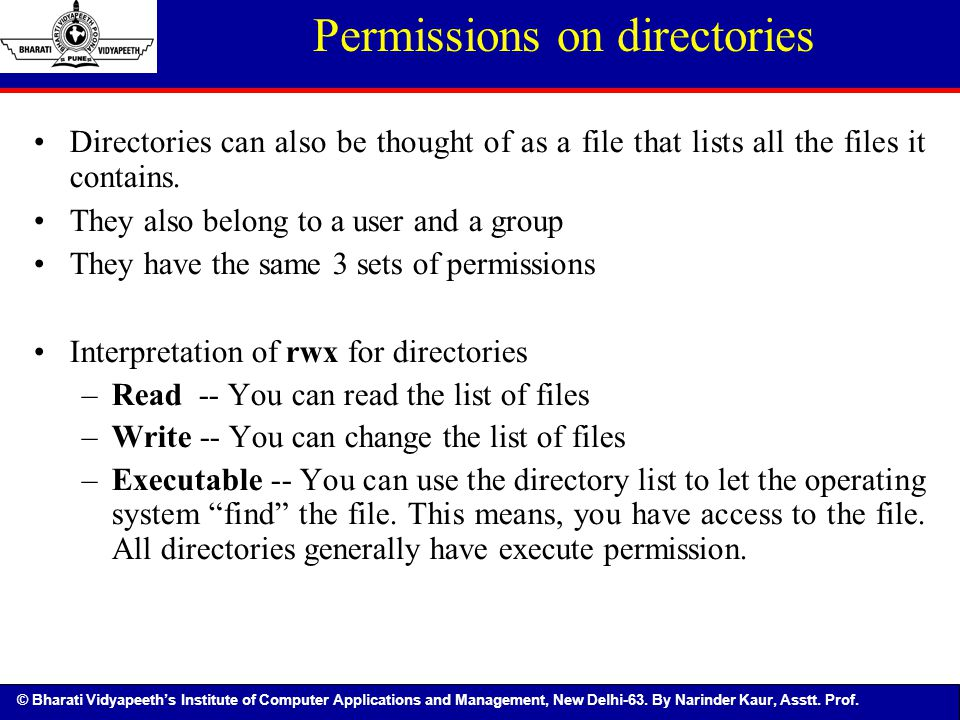 Permissions on directories