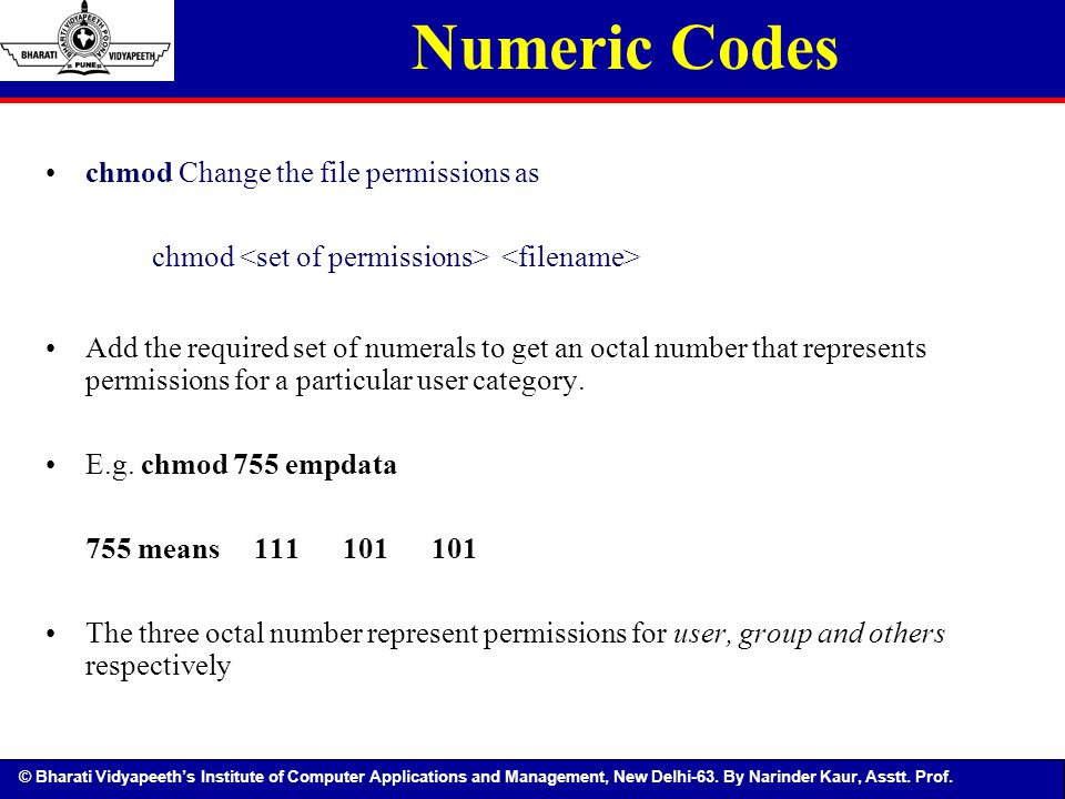 Numeric Codes chmod Change the file permissions as