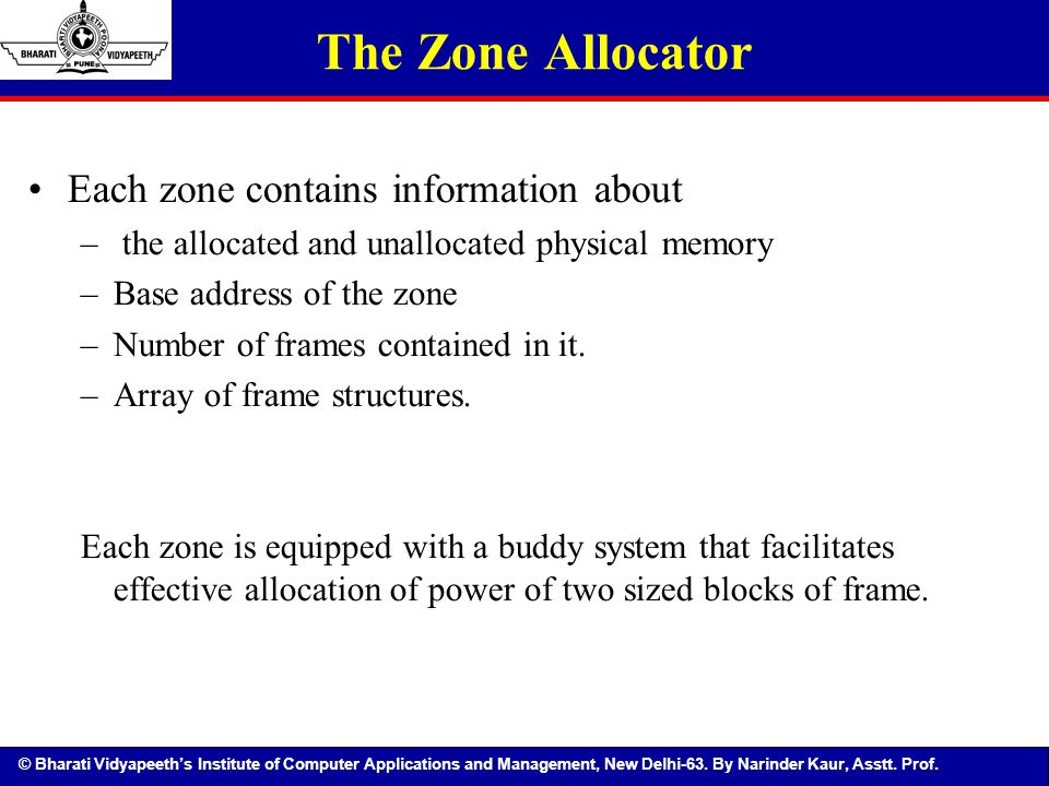 The Zone Allocator Each zone contains information about