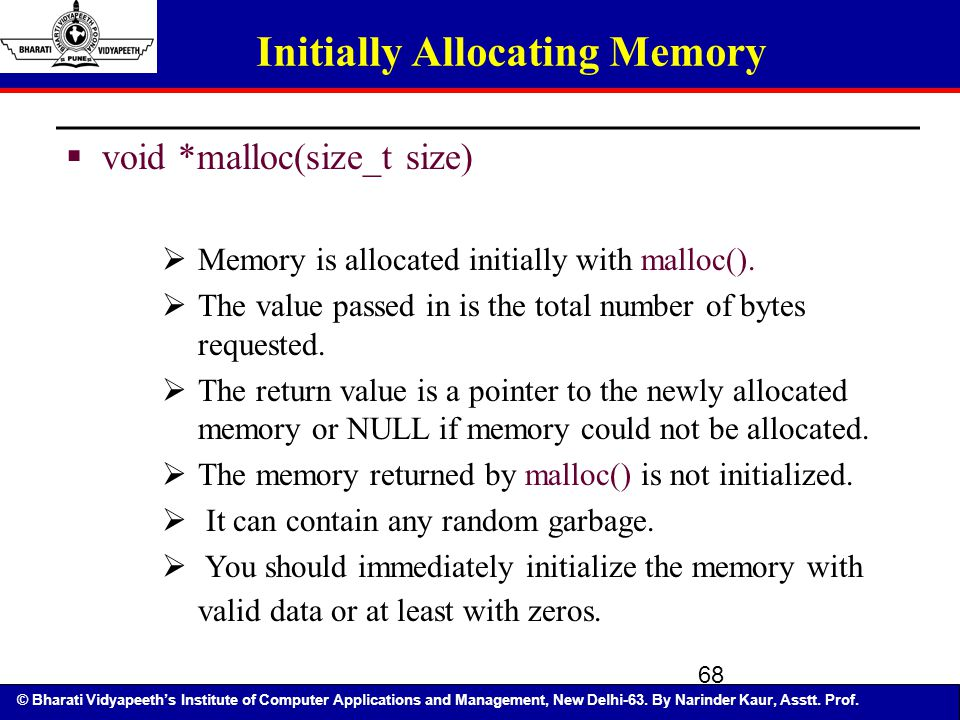 Initially Allocating Memory