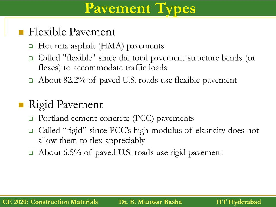 Pavement Types Flexible Pavement Rigid Pavement