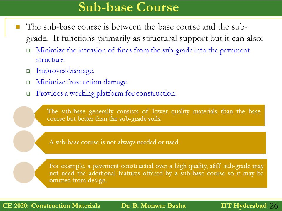 Sub-base Course The sub-base course is between the base course and the sub-grade. It functions primarily as structural support but it can also: